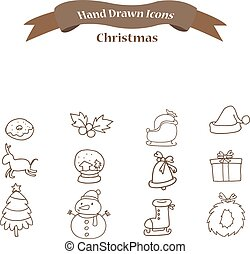 Christmas icons set with deer bell gift