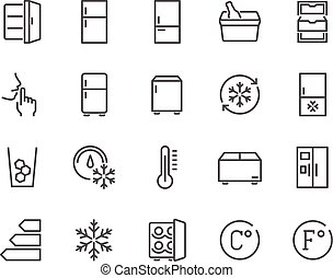 Line Fridge Icons - Simple Set of Fridge Related Vector Line...