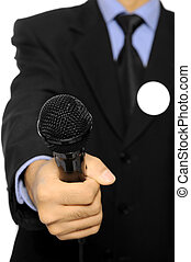 Man Hold Microphone For Election Day Concept - Man with...