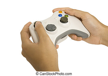 Game Pad - Gamepad hold by human hand isolated over white...