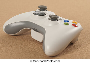 Game Pad - Game pad for video game shot over wooden...