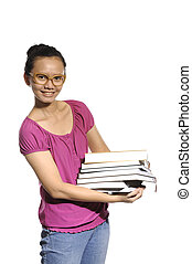 College Student Carrying Stack Of Books