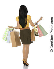 Asian Shopping Woman - Full body shoot from back asian woman...