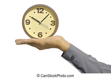 Overtime - Hand holding clock isolated over white...