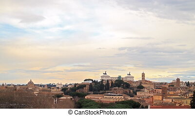 View of Rome. Zoom. Vittorio Emanuele II. Italy. Time Lapse....