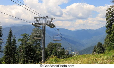 Chairlift in the summer. Time Lapse. Plateau Laura, Sochi, Russia