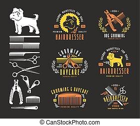 Hairdresser for dog. Badges and design elements. Color print...