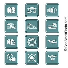 Logistics icons || TEAL series - Logistics and delivery...