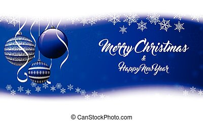Vector Christmas background with snowflakes, ribbon and blue balls.