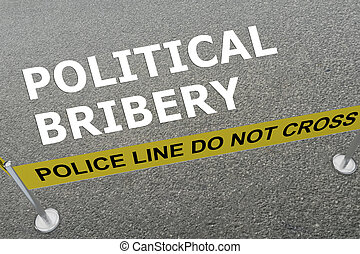 Political Bribery concept - 3D illustration of 'POLITICAL...