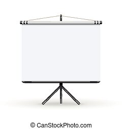 White board presentation conference meeting screen with tripod vector illustration