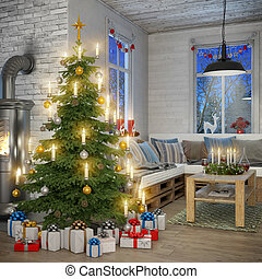 3d - scandinavian flat - christmas - 3d render of...