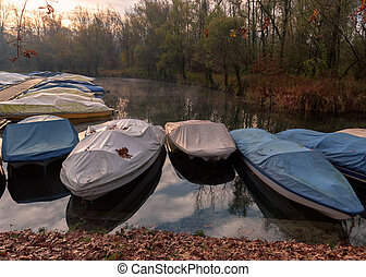 Ticino river and anchored speedboats - Ticino river and its...