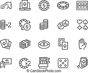 Line Gambling Icons - Simple Set of Gambling Related Vector...