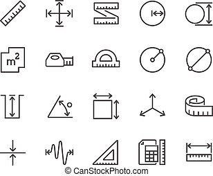 Line Measure Icons - Simple Set of Measure Related Vector...