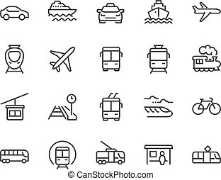 Line Public Transport Icons - Simple Set of Public Transport...