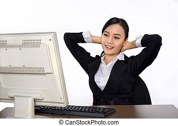 Successful business woman with computer