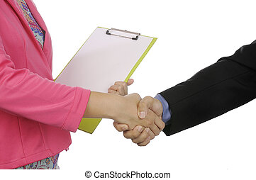 Business Deal - Business agreement gesture isolated over...