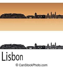 Lisbon V2 skyline in orange background in editable vector...