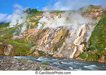 Geysers on Kamchatka - Operating geysers in Russia on the...