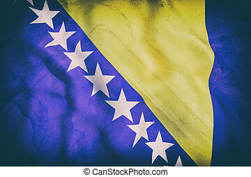 bosinia herzegovina flag - 3d rendering of an old bosnia...