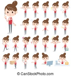 Convenience store red uniforms women - Set of various poses...
