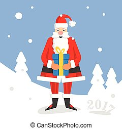Christmass Santa Claus with gift on background card