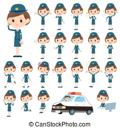 police Woman - Set of various poses of police Woman
