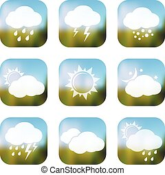 Weather apps icons, web buttons