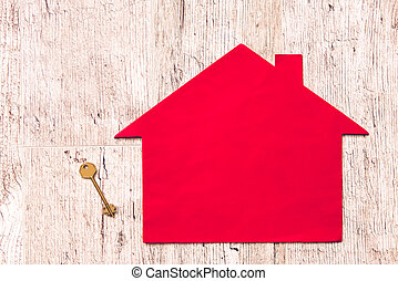 Paper house and key - Moving to new apartment. Red paper...
