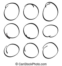 Set hand drawn ovals, felt-tip pen circles. Underlining,...