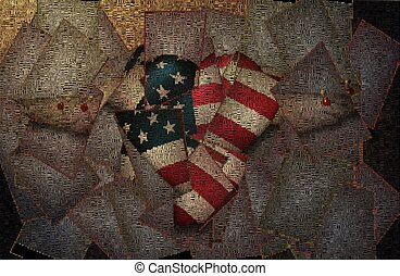Pinned freedom - Heart with stars and stripes, pinned wings.