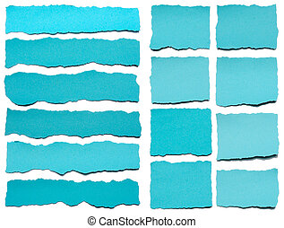 Collection Of Blue Torn Pieces Of Paper