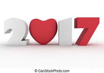 2017 year with heart. Isolated 3d illustration