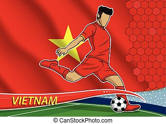 Soccer team player in uniform with state national flag of vietnam.vector illustration.