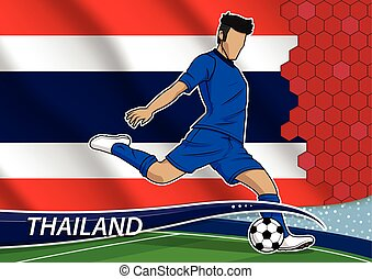 Soccer team player in uniform with state national flag of thailand.vector illustration