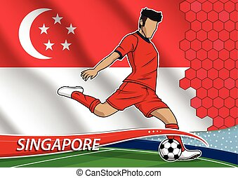 Soccer team player in uniform with state national flag of singapore.vector illustration.