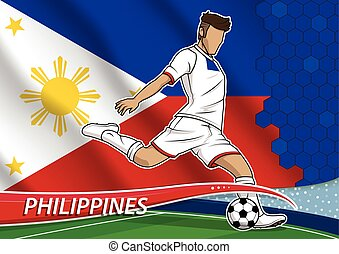 Soccer team player in uniform with state national flag of philippines.vector illustration.