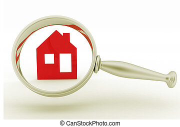 Magnifying glass inspects a home