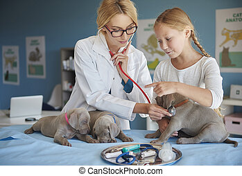 Medical test with red stethoscope