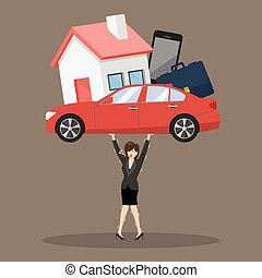 Business woman carrying debt burden. Business concept