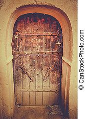 Entrance to kasbah - One of the door leading to kasbah, Draa...