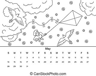 Calendar with coloring book vector illustration - May...