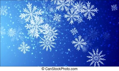 Video-animation of snowflakes falling over blue background -...