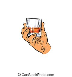 Hand holding full glass of whiskey, sketch style vector...