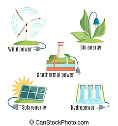 Alternative Eenergy Source Set Vector Illustration -...