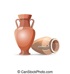 Amphora Vases Isolated. Clay Jars Egyptian Style - Amphora...