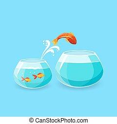 Ambition and Challenge Concept. Goldfish Escape - Ambition...