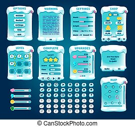 Graphical User Interface Winter Sport Set. Vector. - Game...