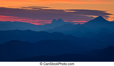 Beautiful sunset light in the spanish mountains (Serra d...